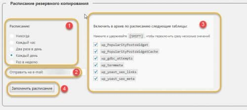 настройка WordPress Data Base Backup