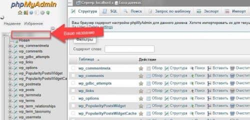 список таблиц вашей MySQL