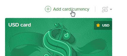 "нажимаем ""Add card/currency """