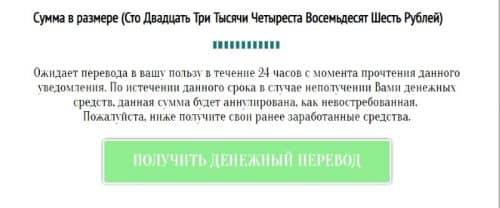 жмем зеленую кнопку «Получить денежный перевод».